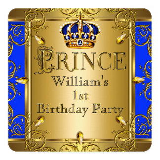 "Prince 1st Birthday Boy Royal Blue Gold Crown 2 5.25"" Square Invitation Card"