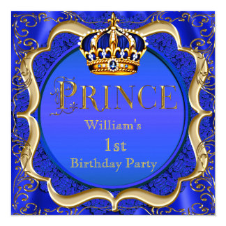 Prince 1st Birthday Boy Royal Blue Gold Crown A 13 Cm X 13 Cm Square Invitation Card