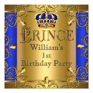 "Prince 1st Birthday Boy Royal Blue Gold Crown 5.25"" Square Invitation Card"