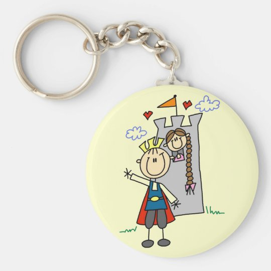Prince and Girl in Tower Tshirts and Gifts Basic Round Button Key Ring