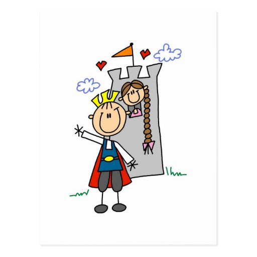 Prince and Girl in Tower Tshirts and Gifts Post Card