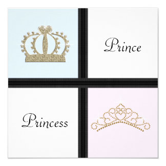 Prince and Princess Gender Reveal 13 Cm X 13 Cm Square Invitation Card