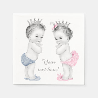 Prince and Princess Twin Baby Shower Disposable Serviette
