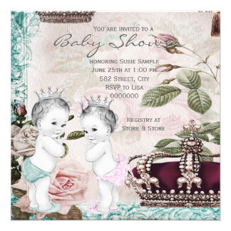 Prince and Princess Twin Baby Shower Custom Invitations