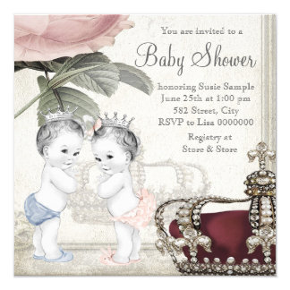 Prince and Princess Twin Baby Shower Invitations