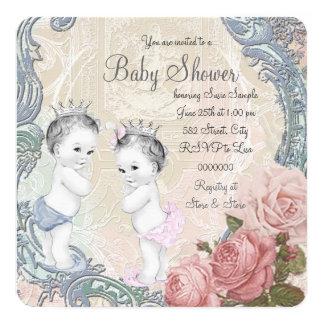 Prince and Princess Twin Baby Shower Invitation