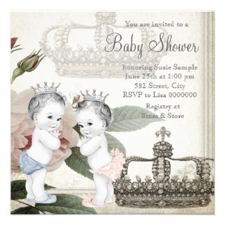 Prince and Princess Twin Baby Shower Custom Announcements