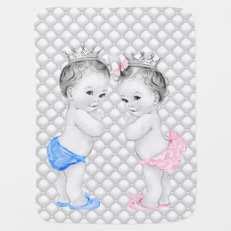 Prince and Princess Twin Baby Swaddle Blankets