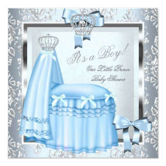 Prince Baby Shower Baby Boy Blue Damask Crown 4F Card