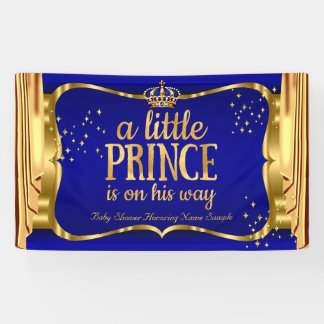 Prince Baby Shower Blue Gold Crown Drapes