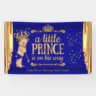 Prince Baby Shower Blue Gold Drapes Brunette Boy