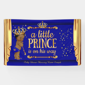 Prince Baby Shower Blue Gold Drapes Ethnic