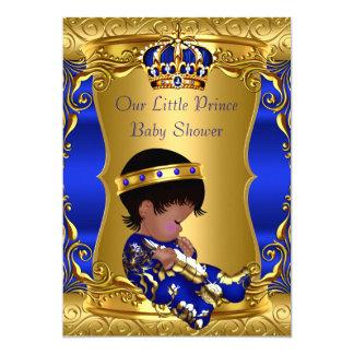 Prince Baby Shower Boy Blue Gold African American 13 Cm X 18 Cm Invitation Card
