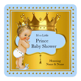 Prince Baby Shower Boy Blue Gold Crown Blonde 13 Cm X 13 Cm Square Invitation Card