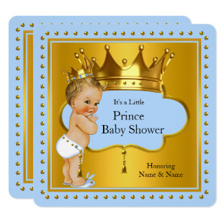 Prince Baby Shower Boy Blue Gold Crown Blonde Card
