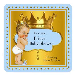 Prince Baby Shower Boy Blue Gold Crown Blonde 13 Cm X 13 Cm Square Invitation Card