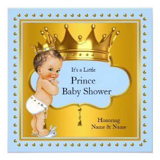Prince Baby Shower Boy Blue Gold Crown Brunette 13 Cm X 13 Cm Square Invitation Card