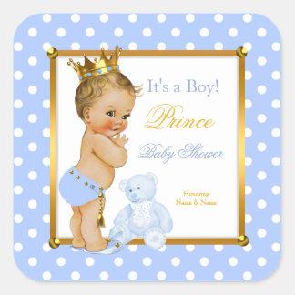 Prince Baby Shower Boy Blue Polka Dot Blonde Square Sticker
