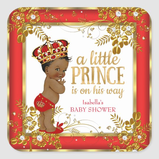 Prince Baby Shower Boy Red Gold White Ethnic