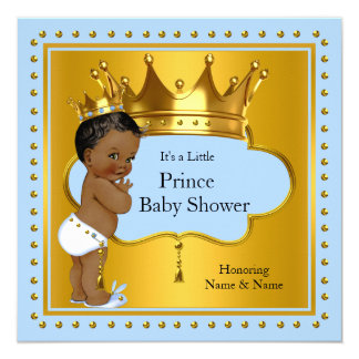 Prince Baby Shower Cute Boy Blue Gold Crown Ethnic 13 Cm X 13 Cm Square Invitation Card