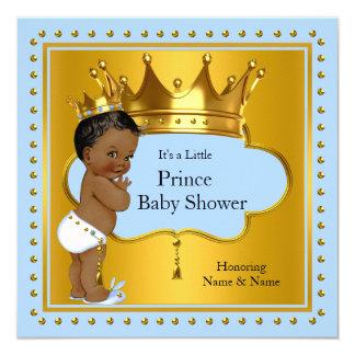 Prince Baby Shower Cute Boy Blue Gold Crown Ethnic 13 Cm X 13 Cm Square Invitation Card