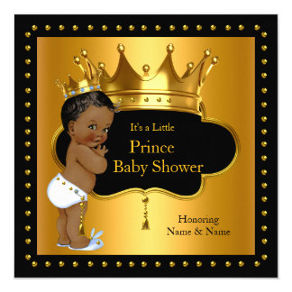 Prince Baby Shower Cute Boy Crown Ethnic Card