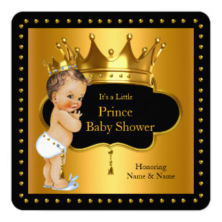 Prince Baby Shower Cute Boy Crown LTH Brunette 13 Cm X 13 Cm Square Invitation Card