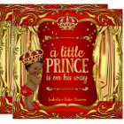Prince Baby Shower Red Gold African American Card