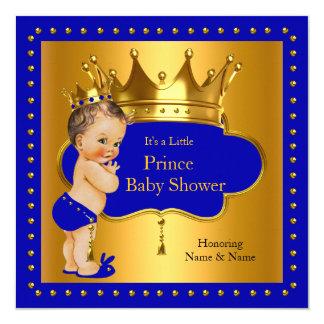 Prince Baby Shower Royal Blue Boy Crown 13 Cm X 13 Cm Square Invitation Card
