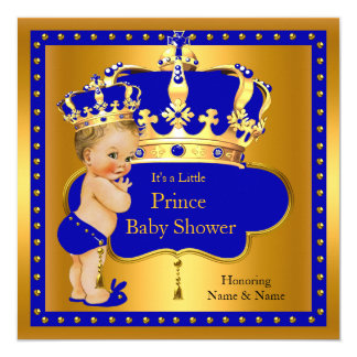 Prince Baby Shower Royal Blue Boy Crown Blonde 13 Cm X 13 Cm Square Invitation Card