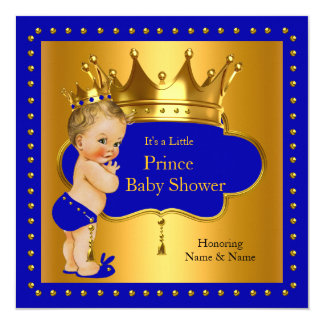 Prince Baby Shower Royal Blue Boy Crown Blonde 13 Cm X 13 Cm Square Invitation Card