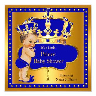 Prince Baby Shower Royal Blue Boy Crown Brunette 13 Cm X 13 Cm Square Invitation Card