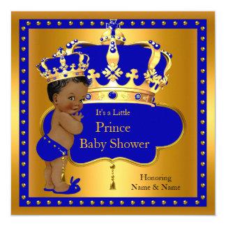 Prince Baby Shower Royal Blue Boy Crown Ethnic 13 Cm X 13 Cm Square Invitation Card