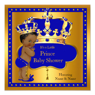 Prince Baby Shower Royal Blue Boy Crown Ethnic Card