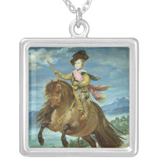 Prince Balthasar Carlos on horseback, c.1635-36 Silver Plated Necklace