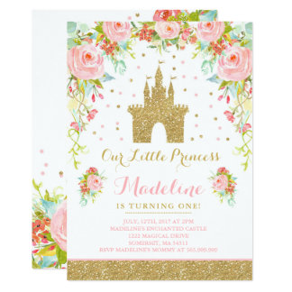 Prince Birthday Invitation Gold Princess Catle