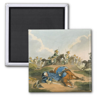 Prince Blucher under his Horse at the Battle of Wa Square Magnet