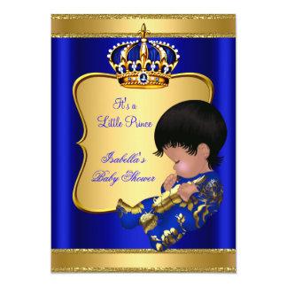 "Prince Boy Baby Shower Blue African American 5"" X 7"" Invitation Card"