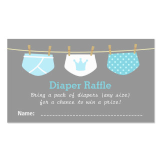 Prince Boy Baby Shower, Cute Diaper Raffle Tickets Pack Of Standard Business Cards
