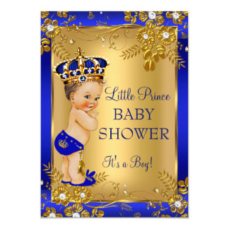 Prince Boy Baby Shower Gold Blue Floral Brunette 13 Cm X 18 Cm Invitation Card