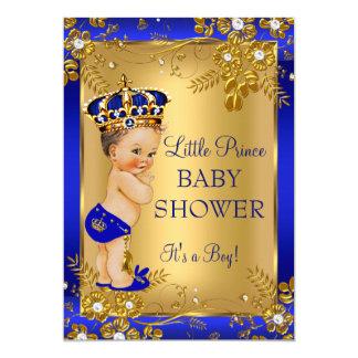 Prince Boy Baby Shower Gold Blue Floral Brunette Card