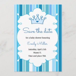 Prince Boy Baby Shower Save The Date