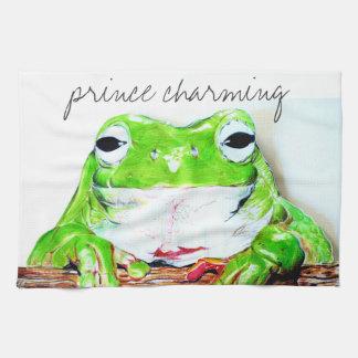 Prince charming frog tea towel