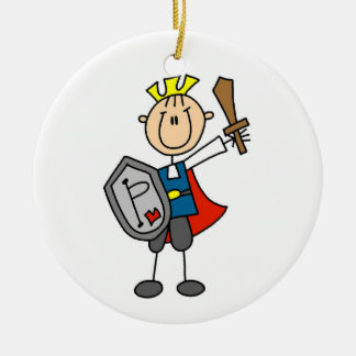 Prince Charming With Sword Round Ceramic Decoration