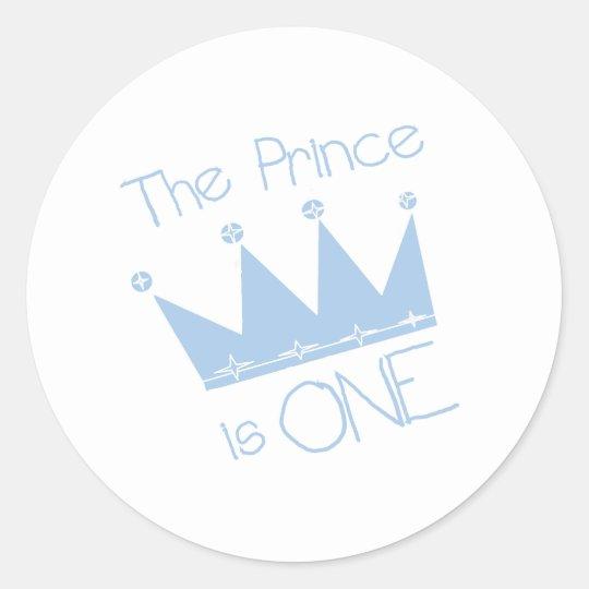 Prince Crown 1st Birthday Round Sticker