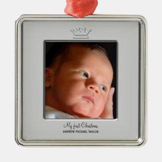 Prince Crown Baby Boy First Christmas Photo Christmas Ornament