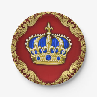 Prince Crown Red Blue Prince Baby Shower Paper Plate