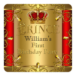 Prince First 1st Birthday Boy Red Gold Crown 13 Cm X 13 Cm Square Invitation Card