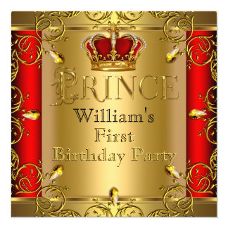 "Prince First 1st Birthday Boy Red Gold Crown 5.25"" Square Invitation Card"