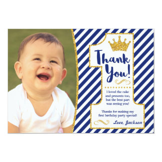 Prince First Birthday Thank You Card